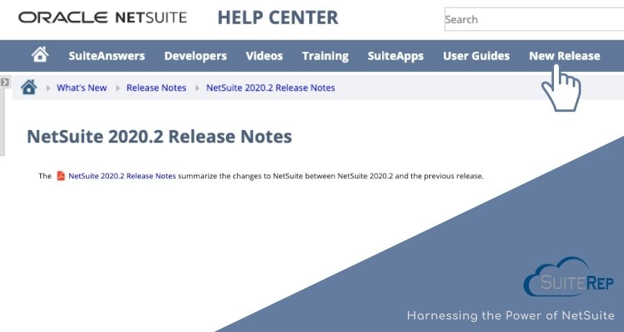 Find Release Notes in NetSuite Help