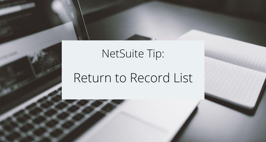 Return to Record List